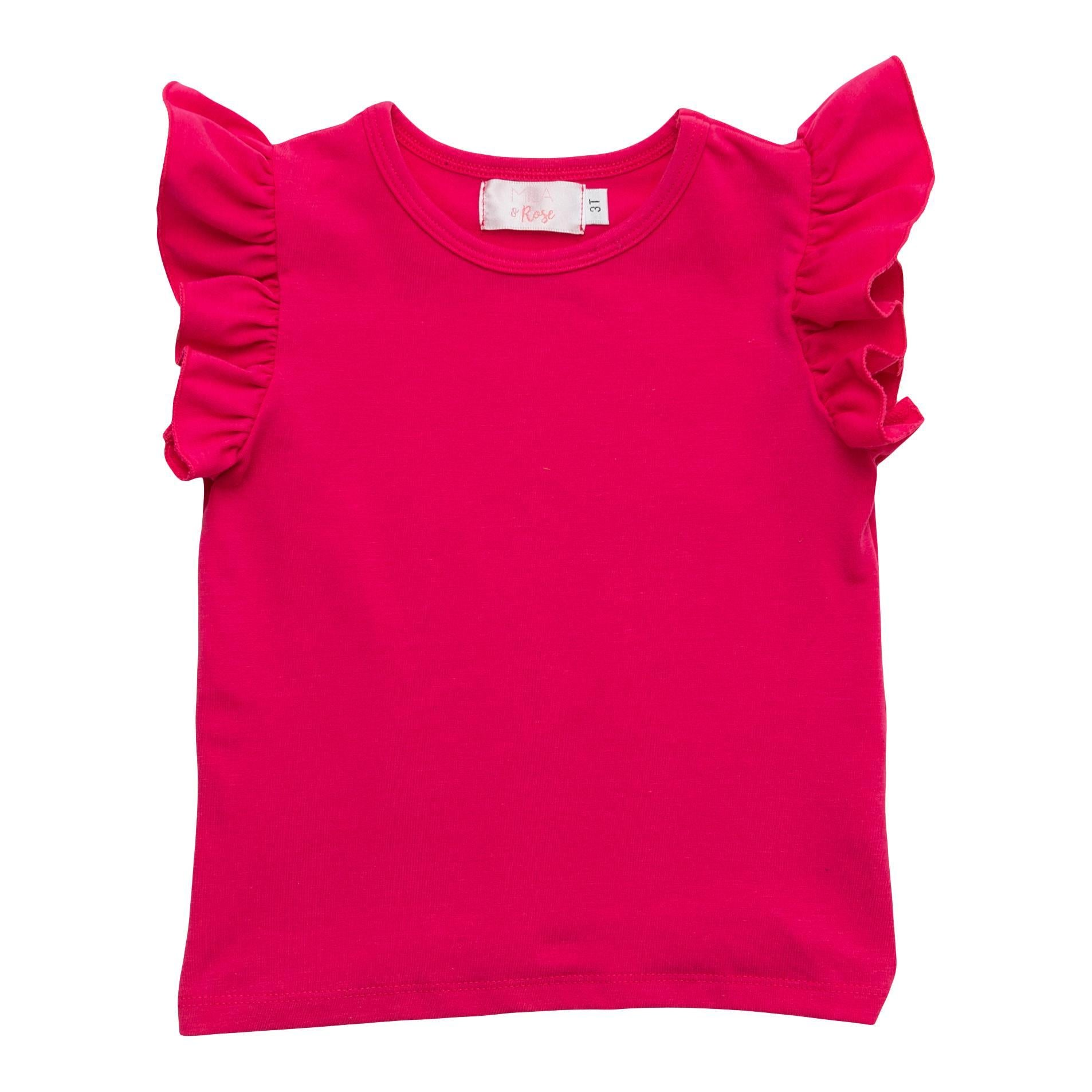 Hot Pink S/S Ruffle Tee-Mila & Rose ®