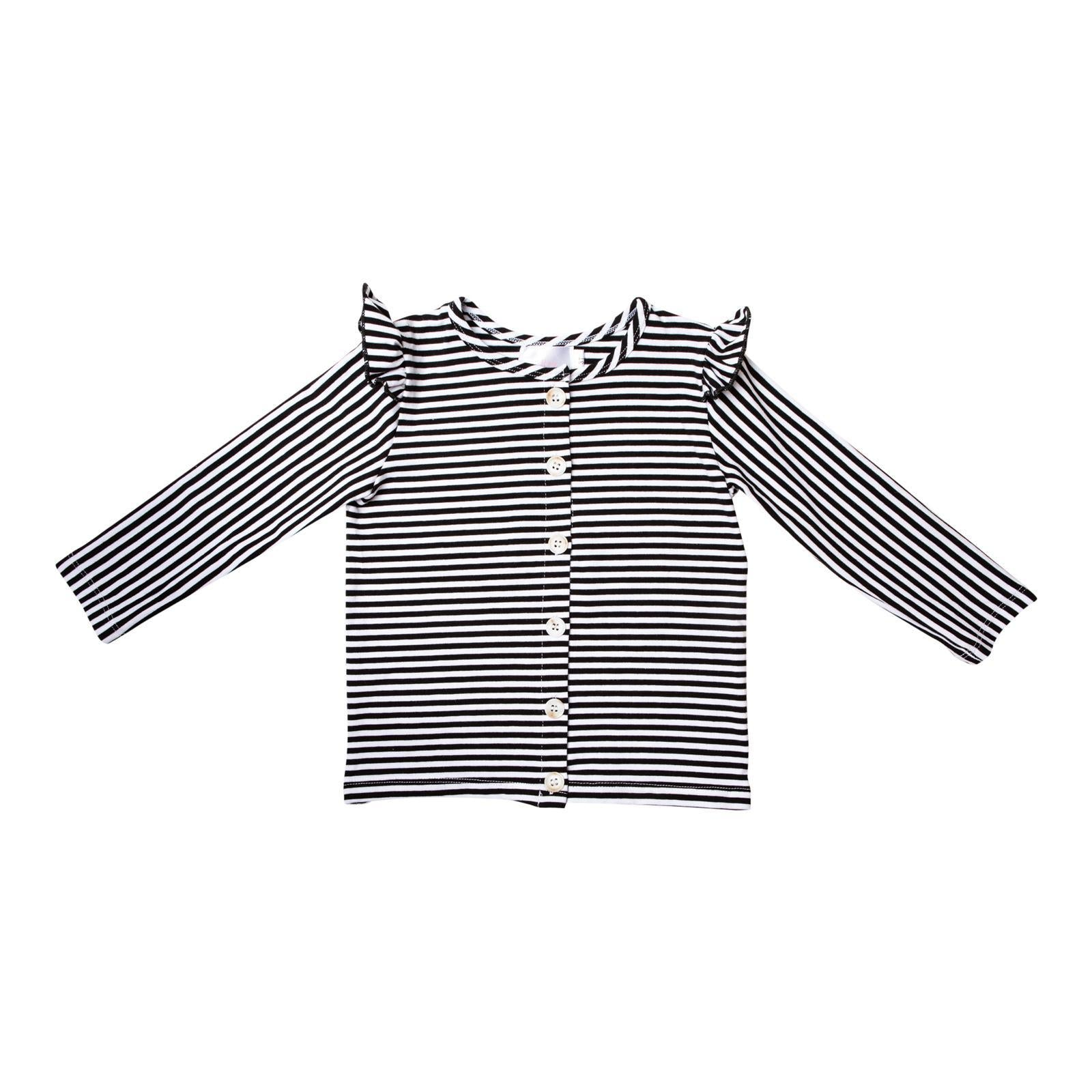 Black & White Stripe Ruffle Cardigan-Mila & Rose ®