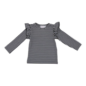 Black & White Stripe L/S Ruffle Tee-Mila & Rose ®