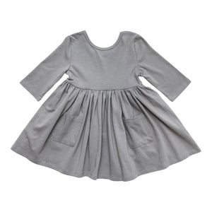 Gray 3/4 Sleeve Pocket Twirl Dress-Mila & Rose ®