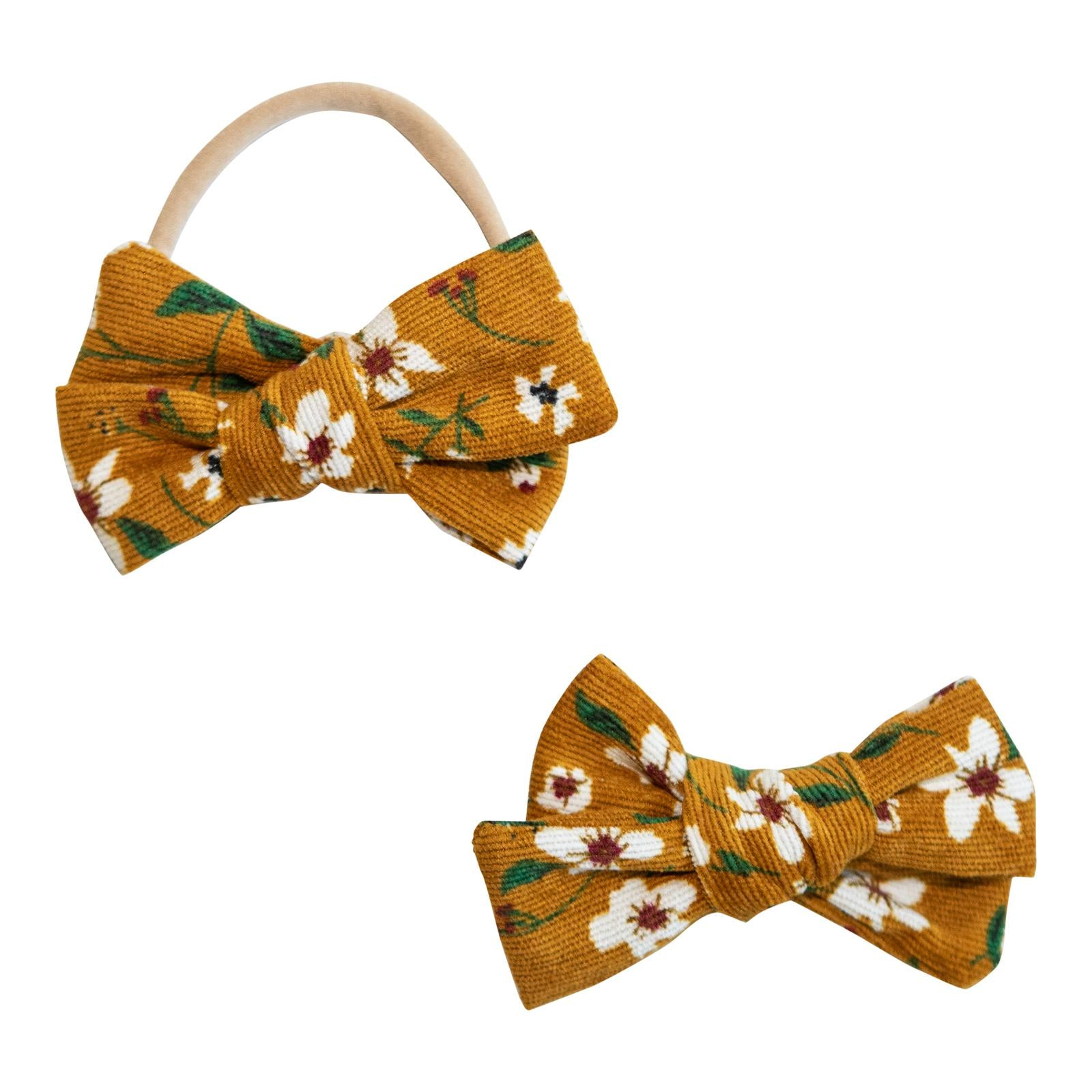 Mustard Floral Cord Bow-Mila & Rose ®