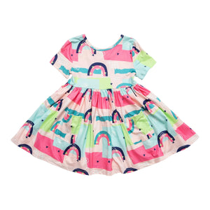 Rainbow Road Short Sleeve Pocket Twirl Dress-Mila & Rose ®