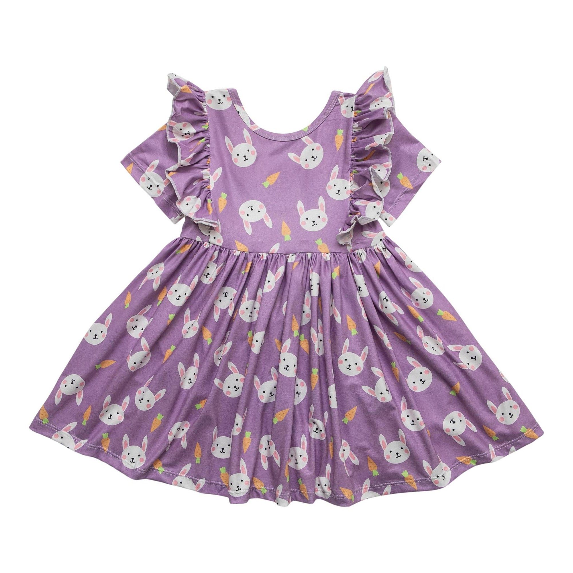 Hopping Around Short Sleeve Ruffle Twirl Dress-Mila & Rose ®