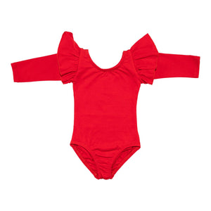 Red Long Sleeve Flutter Leotard-Mila & Rose ®