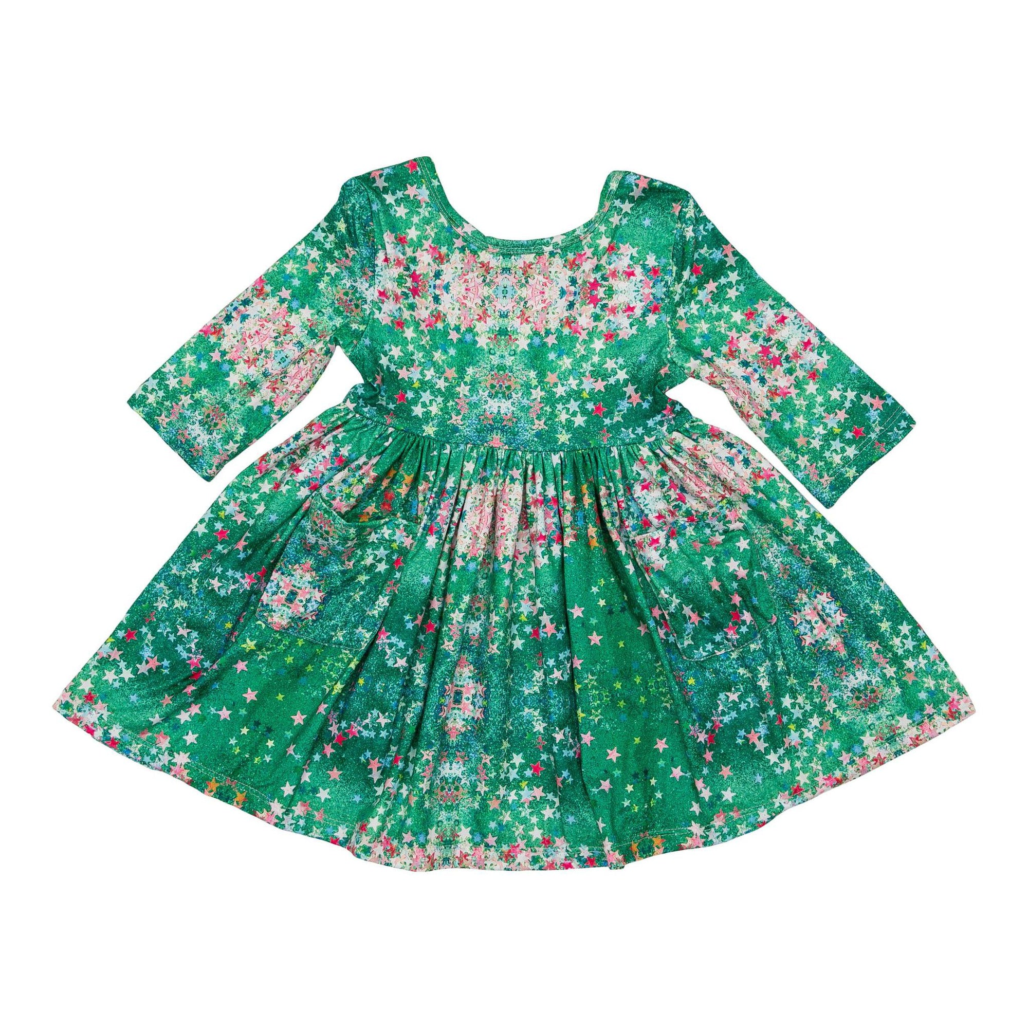 Glitter Star 3/4 Sleeve Pocket Twirl Dress-Mila & Rose ®
