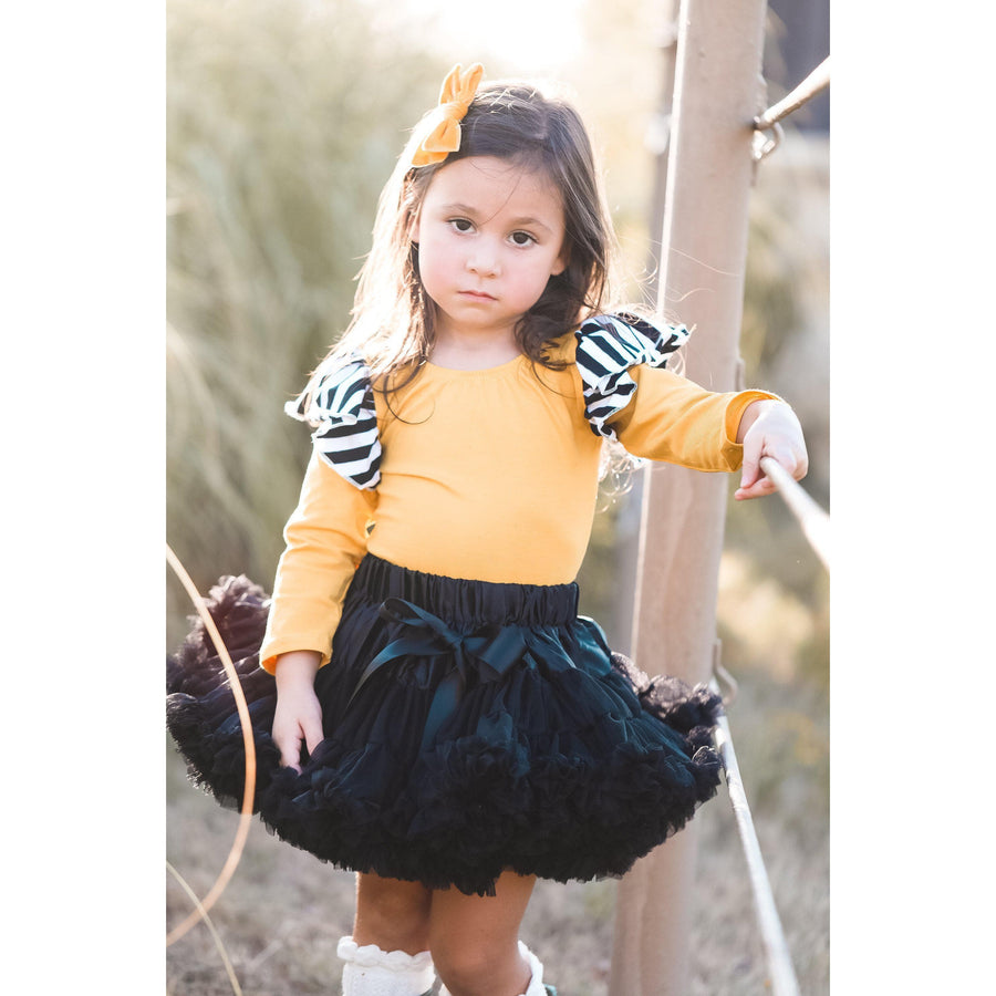 Mustard with Stripe Long Sleeve Flutter Leotard