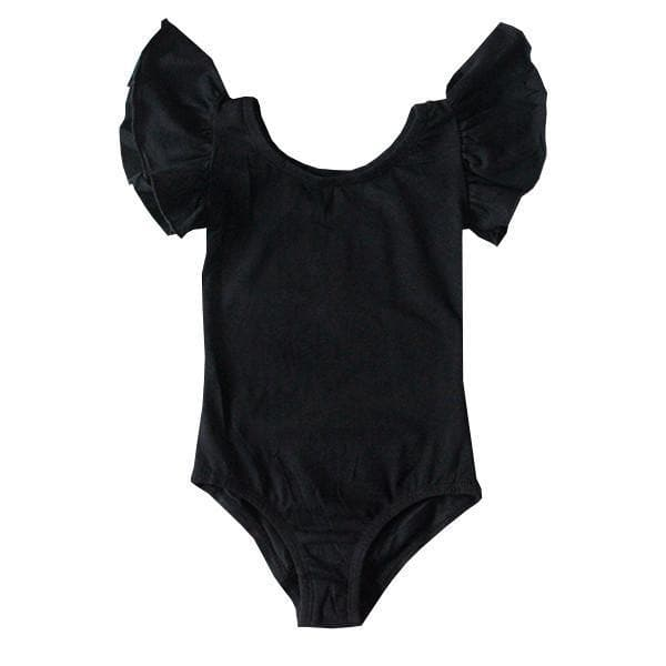 Black Flutter Sleeve Leotard-Mila & Rose ®
