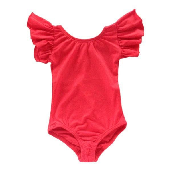 Red Flutter Sleeve Leotard-Mila & Rose ®