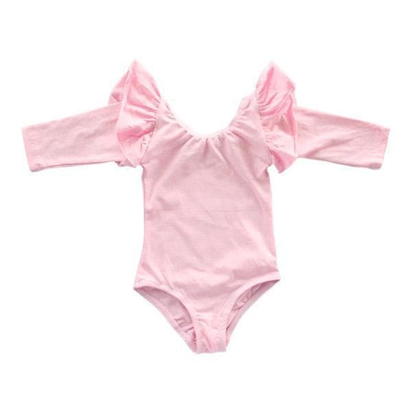 Pink Long Sleeve Flutter Leotard-Mila & Rose ®