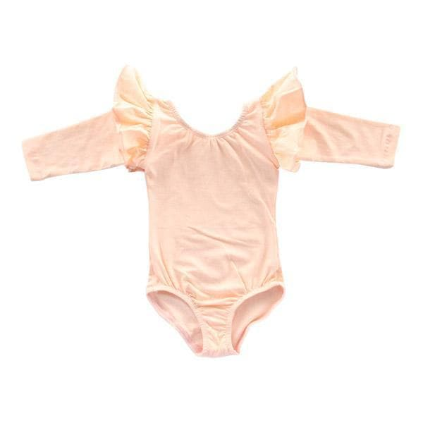 Peach Long Sleeve Flutter Sleeve Leotard-Mila & Rose ®