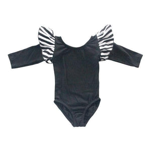 Black with Stripe Long Sleeve Flutter Leotard
