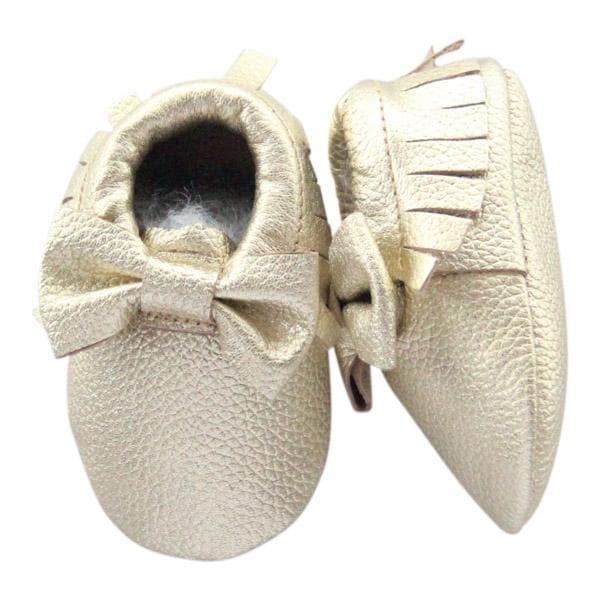 Gold Bow Leather Baby Moccasins