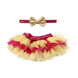 Team Colors Maroon and Gold Tutu Bloomer & Headband Set