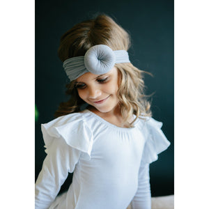 White Long Sleeve Flutter Leotard