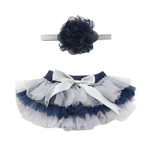 Team Colors Navy and Gray Ruffle Tutu Bloomer-Mila & Rose ®