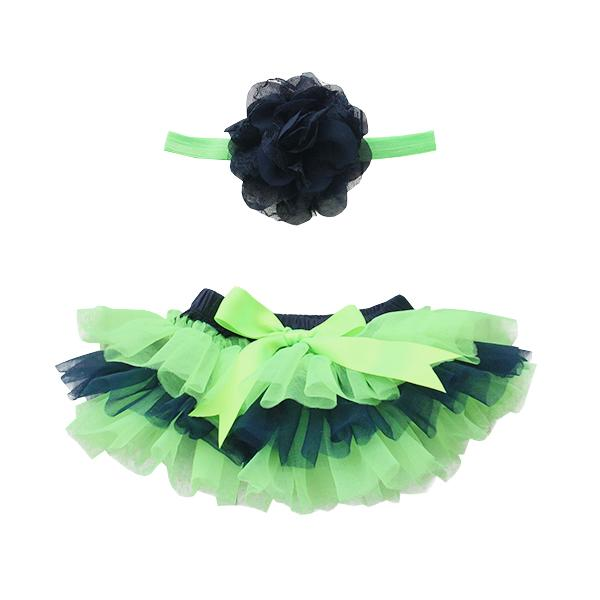 GAME DAY Navy and Neon Green Ruffle Tutu Bloomer-Mila & Rose ®