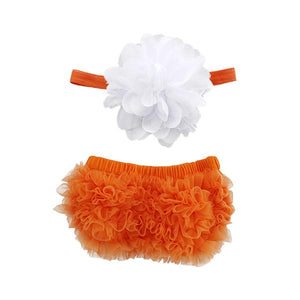 Orange and White Ruffle Bottom Bloomer & Headband Set