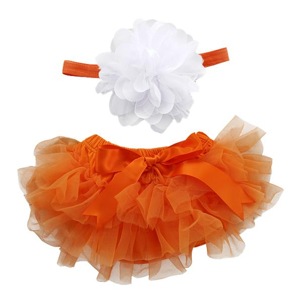 Orange and White Tutu Bloomer & Headband Set