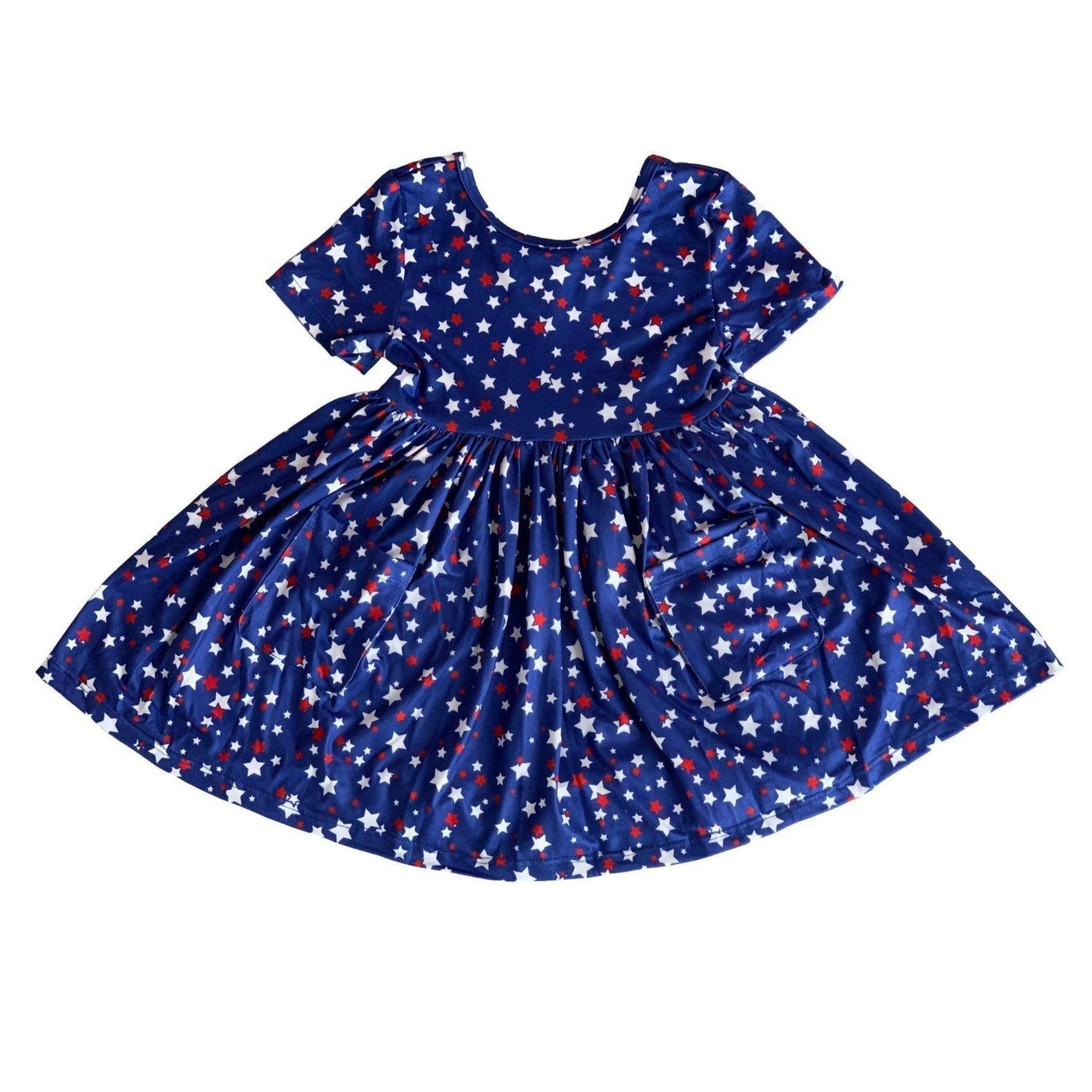 Star Bright Short Sleeve Pocket Twirl Dress-Mila & Rose ®