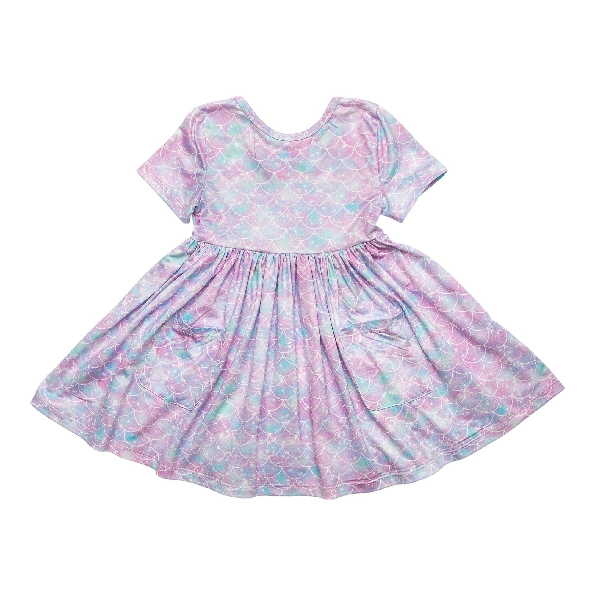 Mermaid Sparkles Short Sleeve Pocket Twirl Dress-Mila & Rose ®