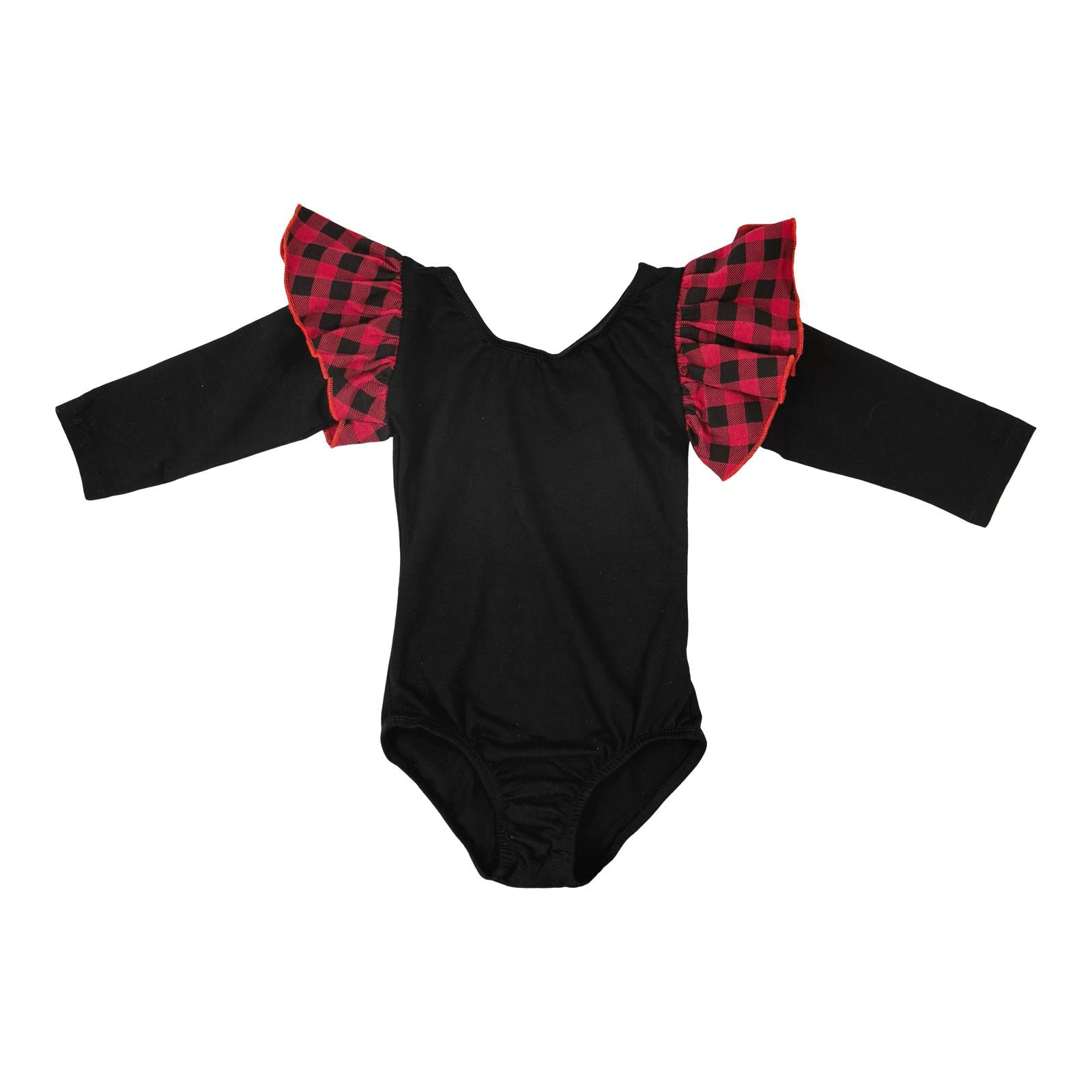 Black with Plaid Long Sleeve Flutter Leotard-Mila & Rose ®