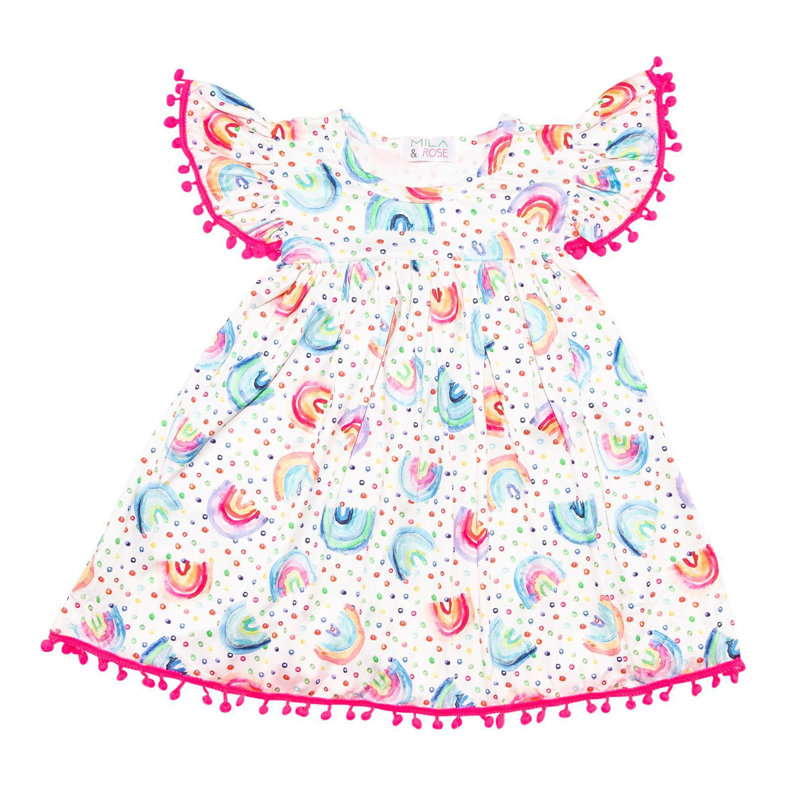 Rainbow Dot Pom Pom Dress-Mila & Rose ®