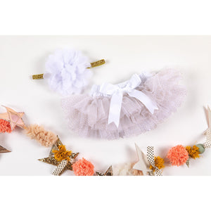 White & Gold Glitter Tutu Bloomer-Mila & Rose ®
