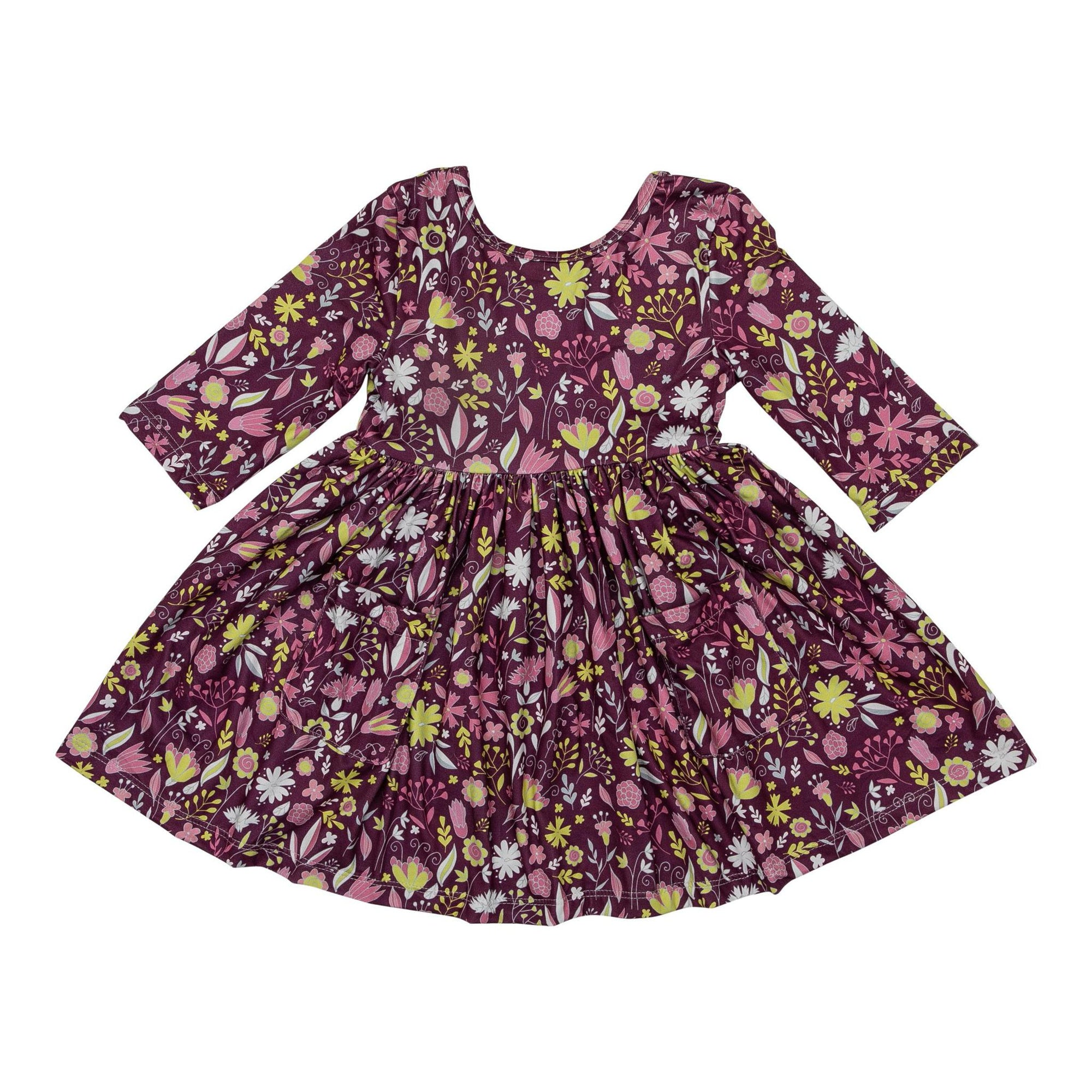 Vintage Blooms 3/4 Sleeve Pocket Twirl Dress-Mila & Rose ®
