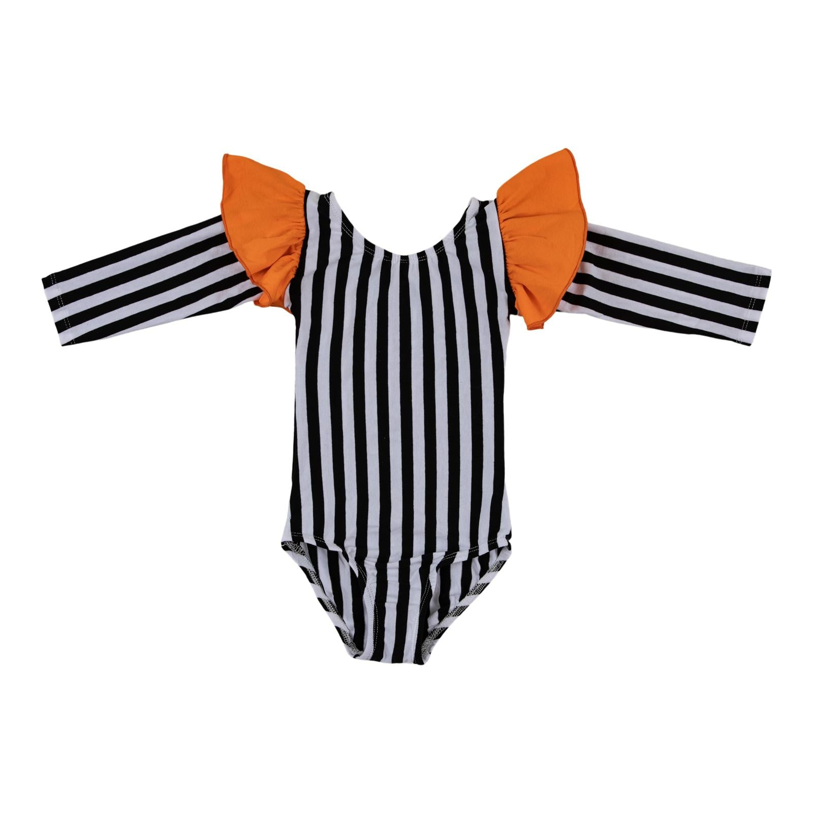 Stripe with Orange Flutter Sleeve Leotard-Mila & Rose ®