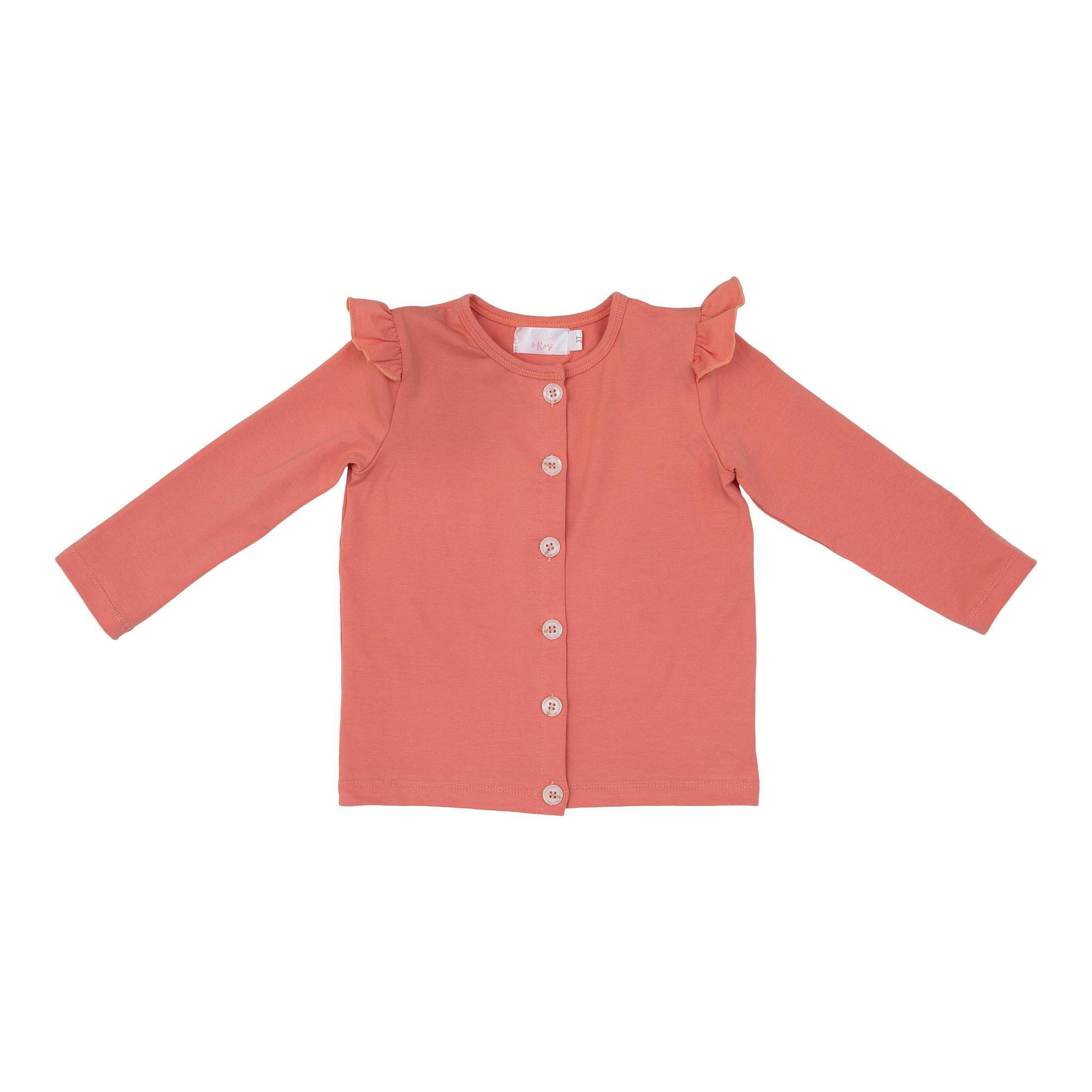 Pumpkin Peach Ruffle Cardigan-Mila & Rose ®