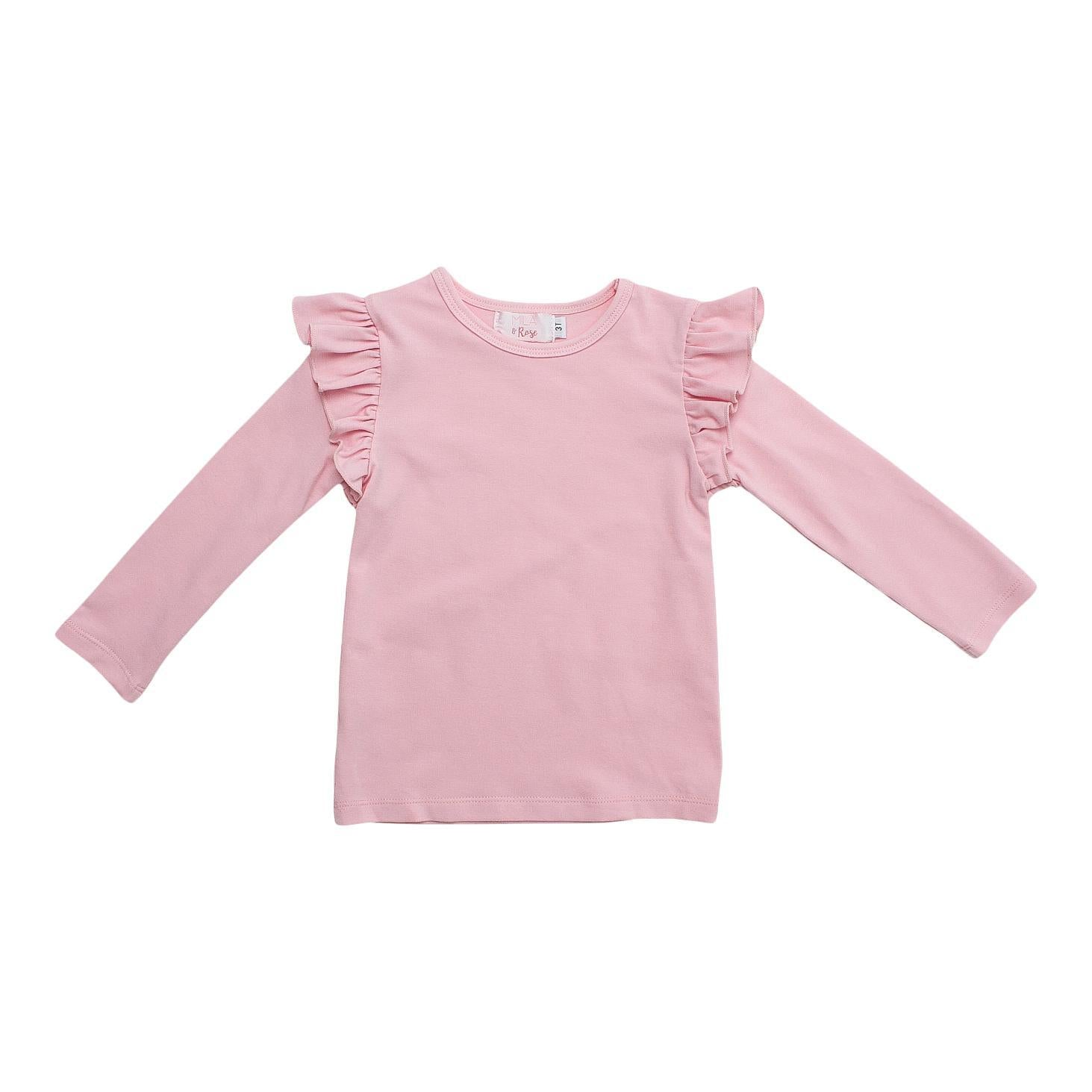 Light Pink L/S Ruffle Tee-Mila & Rose ®