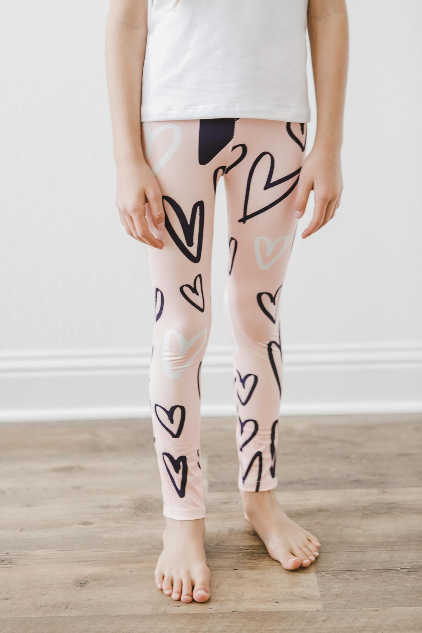 Peach Hand Drawn Heart Leggings-Mila & Rose ®