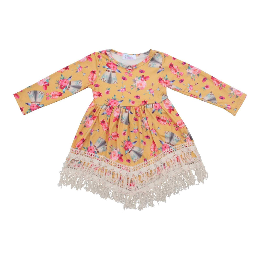 Mustard Teepee Boho Fringe Dress-Mila & Rose ®