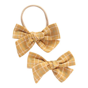 Mustard Plaid Oversized Bow-Mila & Rose ®