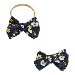 Navy Floral Cord Bow-Mila & Rose ®