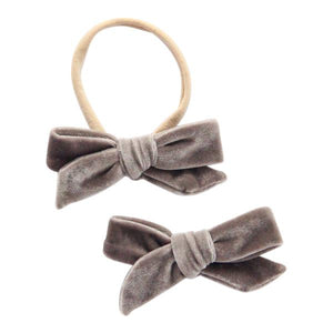 Koala Gray Velvet Bow-Mila & Rose ®