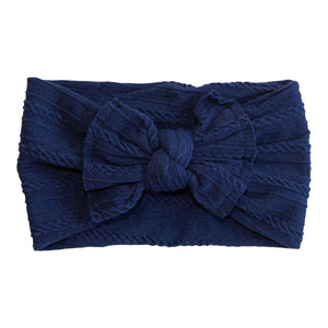 Navy Cable Knit Nylon Headwrap-Mila & Rose ®