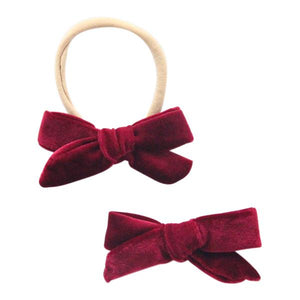 Cranberry Velvet Bow-Mila & Rose ®