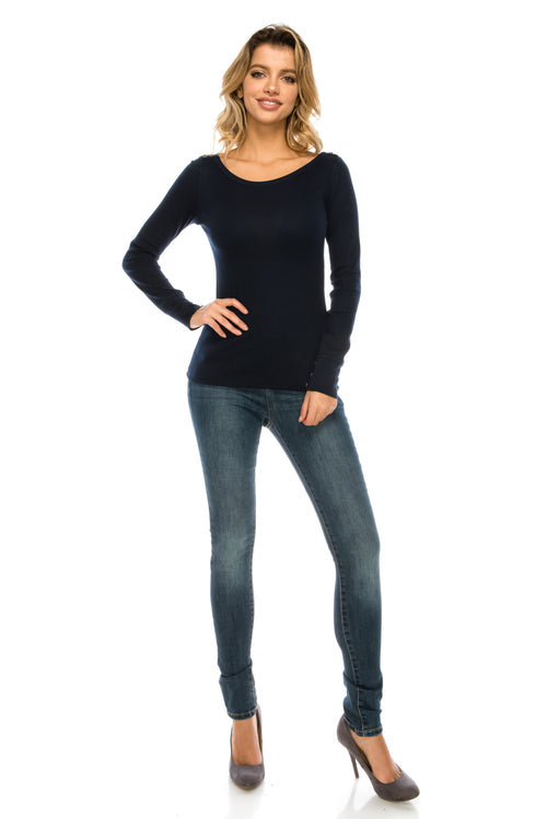 Ashley Round Thermal Long Sleeve Top
