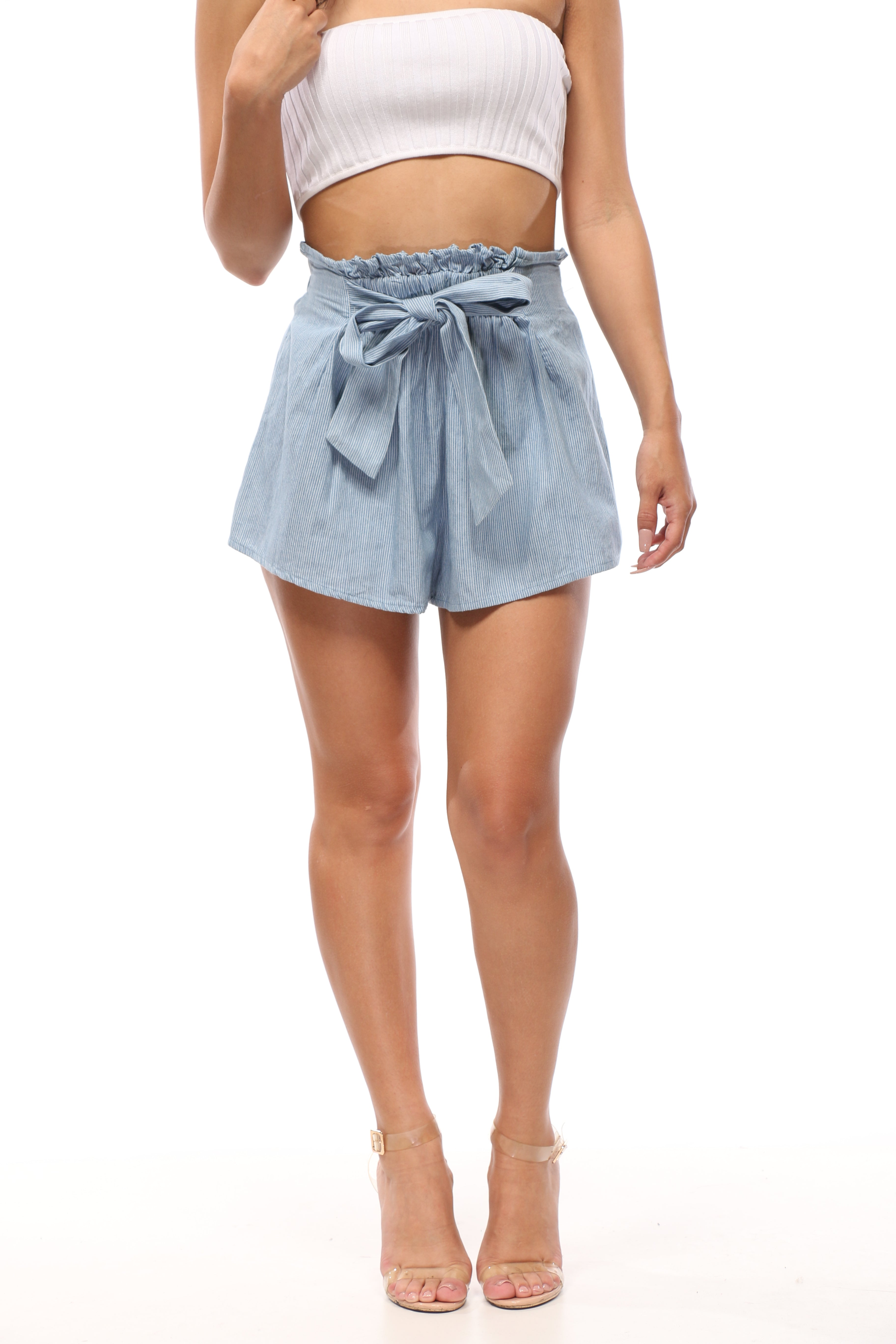 High Tied Paper Bag Shorts - OWLXFISH