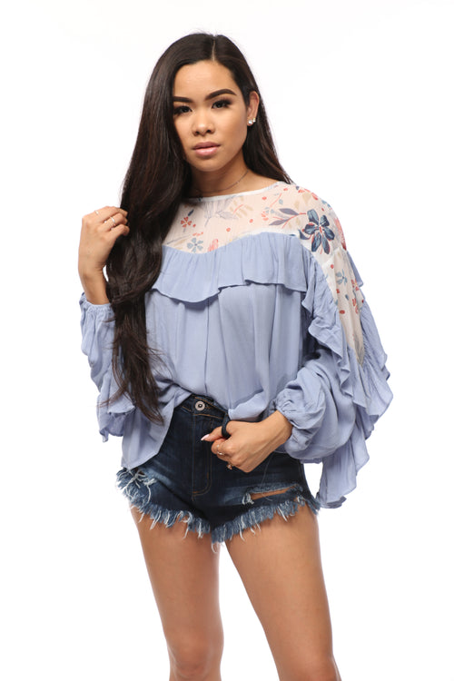 Floral Ruffled Crop Top - OWLXFISH