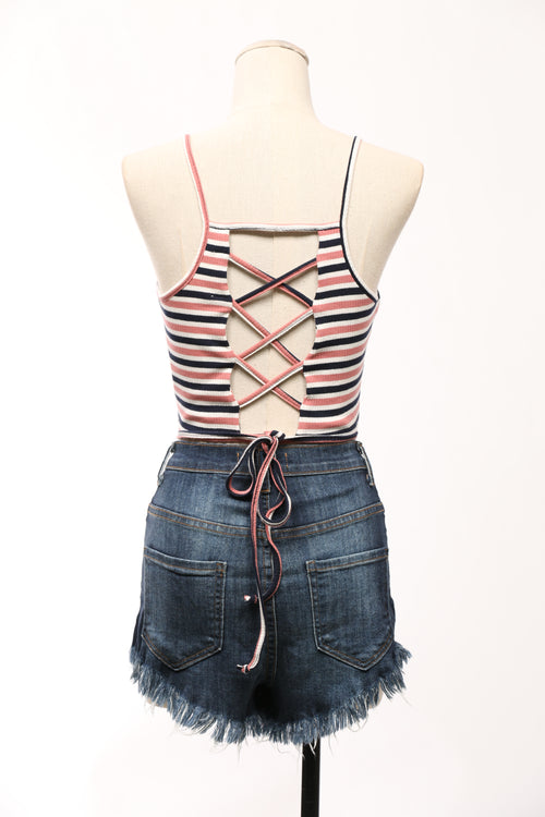 Carmen Crop Stripe Top - OWLXFISH