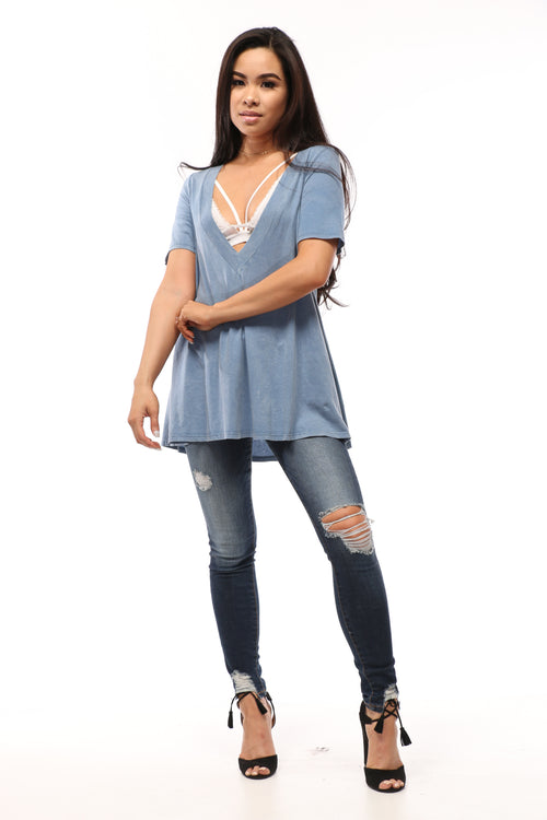 Megan Mineral Washed Deep V-Neck Tunic Dress - OWLXFISH