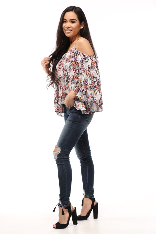 Anita Cold Shoulder Floral Top