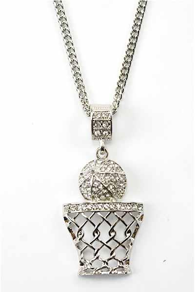CRYSTAL ACCENT BASKET BALL PENDANT NECKLACE MADE IN KOREA HIGH QUAILITY 14K