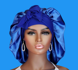 Blue Satin Bonnet