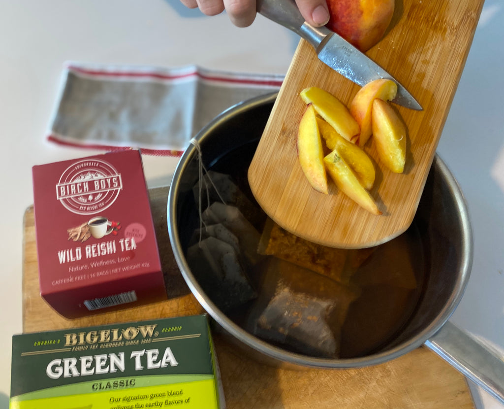 Peachy green Tea Recipe with Reishi mushroom