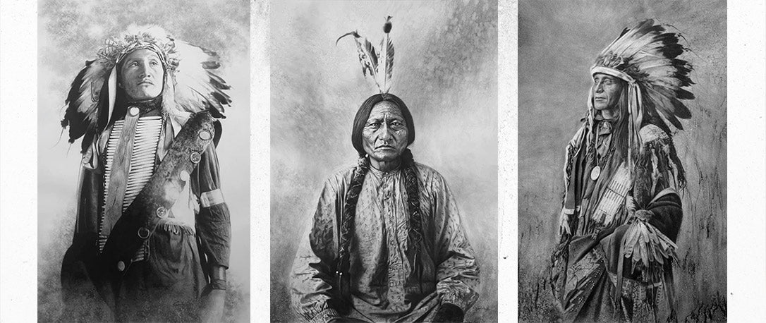 Native American Chiefs in Charcoal