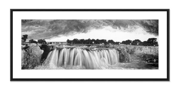 Falls Park - Original Charcoal Painting Matted and Framed