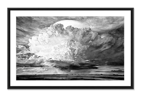 Prairie Storm - Original Charcoal Painting Matted and Framed